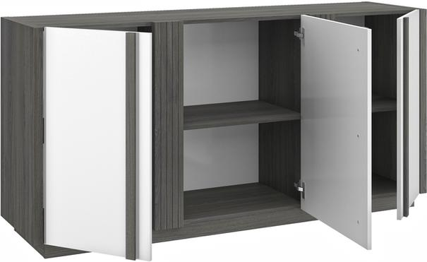 Aston Three Door Sideboard - White and Light Oak or Black image 8