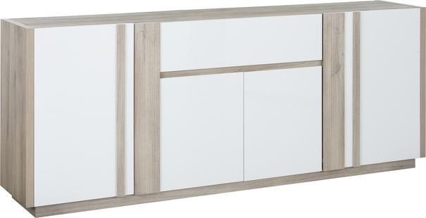Aston Four Door One Drawer Sideboard - White and Light Oak or Black image 3