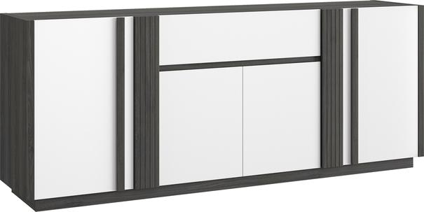 Aston Four Door One Drawer Sideboard - White and Light Oak or Black image 4