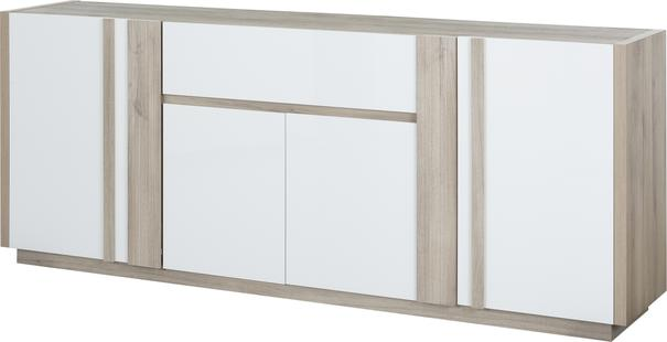 Aston Four Door One Drawer Sideboard - White and Light Oak or Black image 7