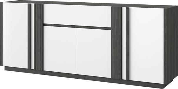 Aston Four Door One Drawer Sideboard - White and Light Oak or Black image 8