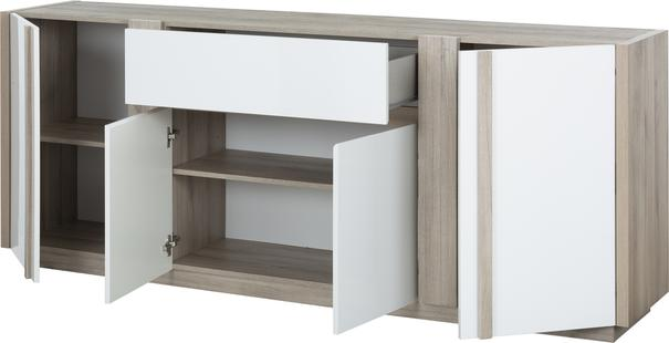 Aston Four Door One Drawer Sideboard - White and Light Oak or Black image 9