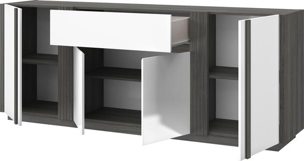 Aston Four Door One Drawer Sideboard - White and Light Oak or Black image 10
