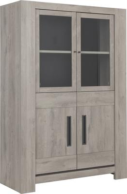 Boston Four Door Display Unit - Light Grey Oak Finish