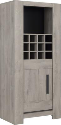 Boston Display Unit One Door and Wine Rack - Light Grey Oak Finish