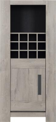 Boston Display Unit One Door and Wine Rack - Light Grey Oak Finish image 2