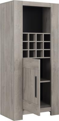 Boston Display Unit One Door and Wine Rack - Light Grey Oak Finish image 3