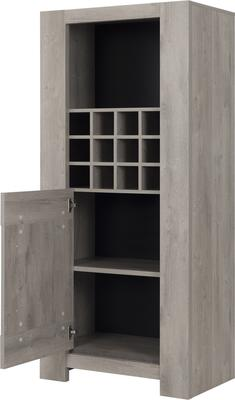 Boston Display Unit One Door and Wine Rack - Light Grey Oak Finish image 4