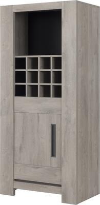 Boston Display Unit One Door and Wine Rack - Light Grey Oak Finish image 5