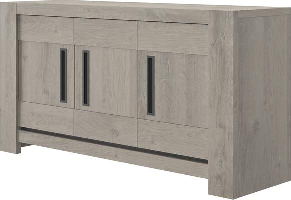 Boston Three Door Sideboard - Light Grey Oak Finish image 3
