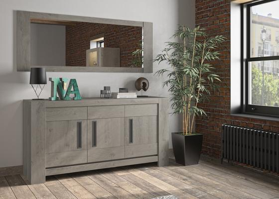 Boston Three Door Sideboard - Light Grey Oak Finish image 4