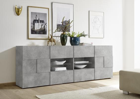 Treviso Two Door/Four Drawer Sideboard - Grey Concrete Finish image 2