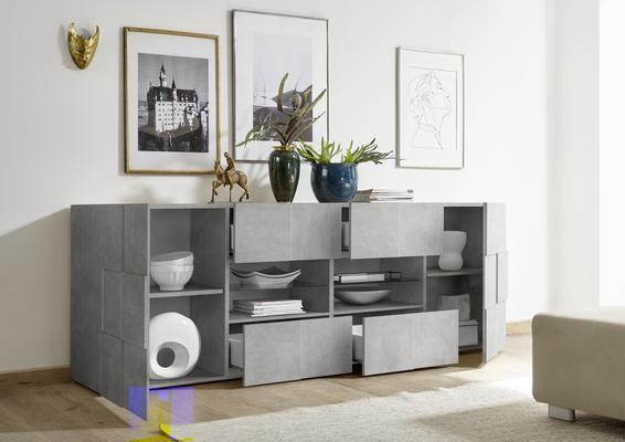 Treviso Two Door/Four Drawer Sideboard - Grey Concrete Finish image 3