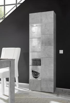 Treviso One Door Display Vitrine with LED Spotlight - Grey Concrete Finish