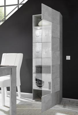 Treviso One Door Display Vitrine with LED Spotlight - Grey Concrete Finish image 2