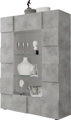 Treviso Two Door Display Vitrine with LED Spotlight - Grey Concrete Finish