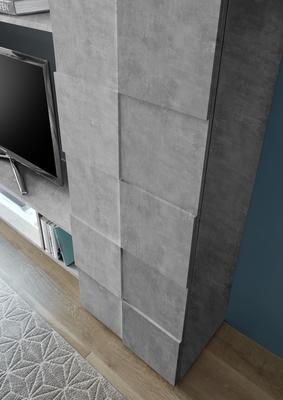 Treviso Two Door Display Vitrine with LED Spotlight - Grey Concrete Finish image 4