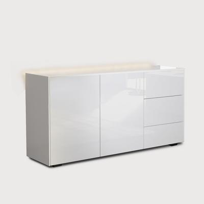Contemporary High Gloss White Sideboard With Hidden Wireless Phone Charging And LED Mood Lighting