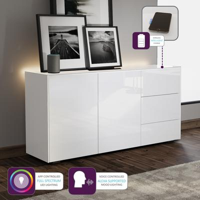 Contemporary High Gloss White Sideboard With Hidden Wireless Phone Charging And LED Mood Lighting image 2