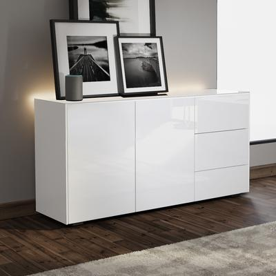 Contemporary High Gloss White Sideboard With Hidden Wireless Phone Charging And LED Mood Lighting image 3