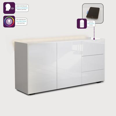 Contemporary High Gloss White Sideboard With Hidden Wireless Phone Charging And LED Mood Lighting image 4