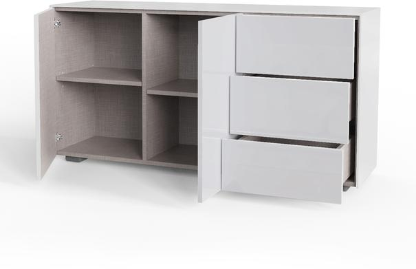 Contemporary High Gloss White Sideboard With Hidden Wireless Phone Charging And LED Mood Lighting image 5