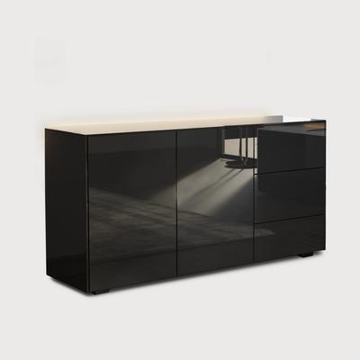 Contemporary High Gloss Black Sideboard With Hidden Wireless Phone Charging And LED Mood Lighting