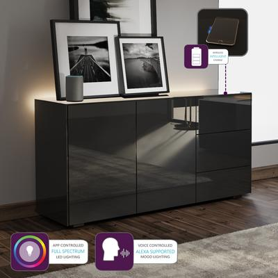 Contemporary High Gloss Black Sideboard With Hidden Wireless Phone Charging And LED Mood Lighting image 2