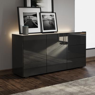Contemporary High Gloss Black Sideboard With Hidden Wireless Phone Charging And LED Mood Lighting image 3