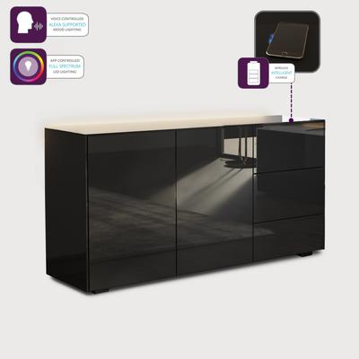 Contemporary High Gloss Black Sideboard With Hidden Wireless Phone Charging And LED Mood Lighting image 4