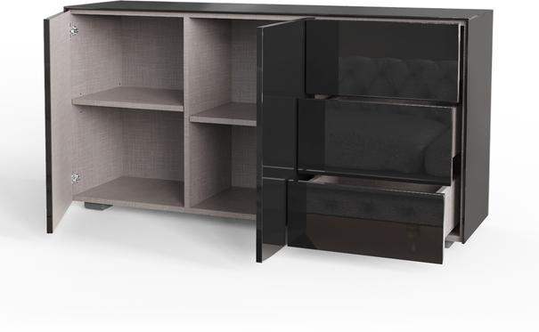 Contemporary High Gloss Black Sideboard With Hidden Wireless Phone Charging And LED Mood Lighting image 5
