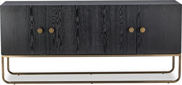 Rhapsody Four Door Sideboard Black Ash and Brass Frame image 2