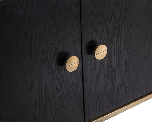 Rhapsody Four Door Sideboard Black Ash and Brass Frame image 3