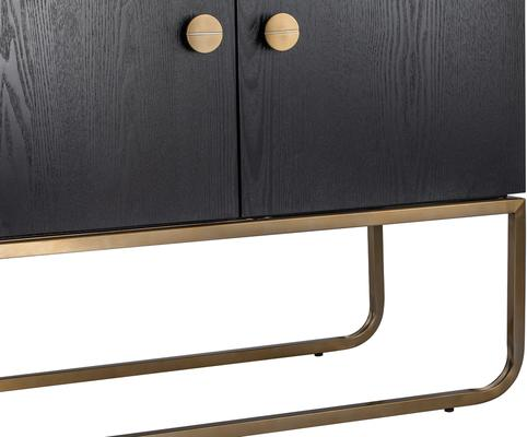 Rhapsody Four Door Sideboard Black Ash and Brass Frame image 4
