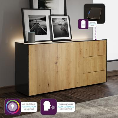 Contemporary High Gloss Black and Oak Sideboard With Wireless Phone Charging And LED Mood Lighting image 2
