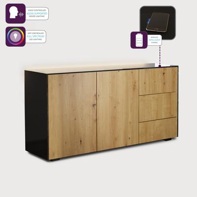 Contemporary High Gloss Black and Oak Sideboard With Wireless Phone Charging And LED Mood Lighting image 3