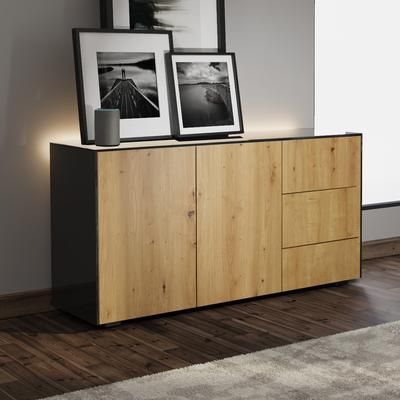 Contemporary High Gloss Black and Oak Sideboard With Wireless Phone Charging And LED Mood Lighting image 5