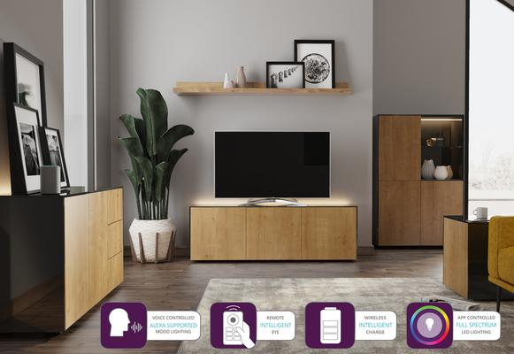 Contemporary High Gloss Black and Oak Sideboard With Wireless Phone Charging And LED Mood Lighting image 6