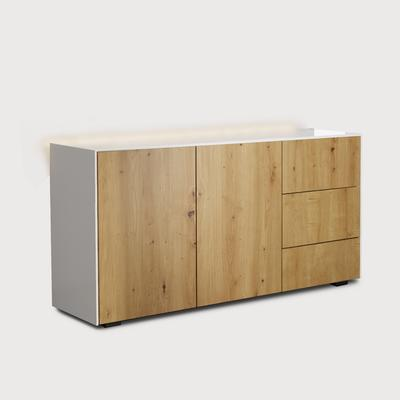 Contemporary High Gloss White and Oak Sideboard With Wireless Phone Charging And LED Mood Lighting