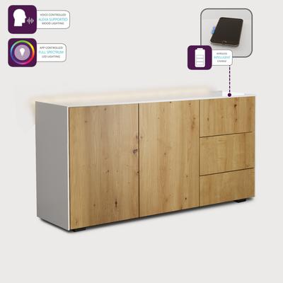 Contemporary High Gloss White and Oak Sideboard With Wireless Phone Charging And LED Mood Lighting image 3