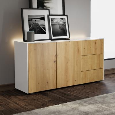 Contemporary High Gloss White and Oak Sideboard With Wireless Phone Charging And LED Mood Lighting image 4