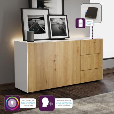 Contemporary High Gloss White and Oak Sideboard With Wireless Phone Charging And LED Mood Lighting image 5