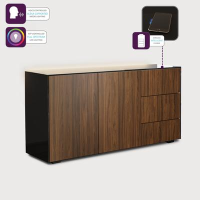 Contemporary High Gloss Black and Walnut Sideboard With Wireless Phone Charging And LED Mood Lighting image 3