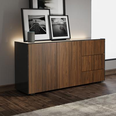 Contemporary High Gloss Black and Walnut Sideboard With Wireless Phone Charging And LED Mood Lighting image 4