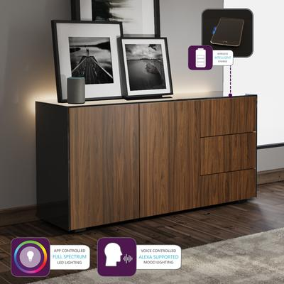Contemporary High Gloss Black and Walnut Sideboard With Wireless Phone Charging And LED Mood Lighting image 5