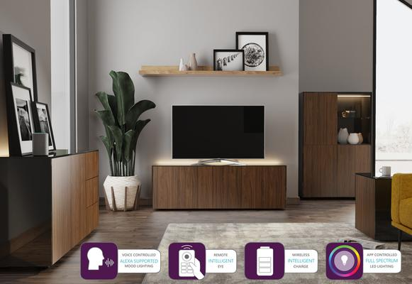 Contemporary High Gloss Black and Walnut Sideboard With Wireless Phone Charging And LED Mood Lighting image 6