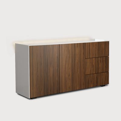 Contemporary High Gloss White and Walnut Sideboard With Wireless Phone Charging And LED Mood Lighting
