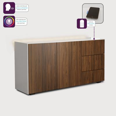 Contemporary High Gloss White and Walnut Sideboard With Wireless Phone Charging And LED Mood Lighting image 3