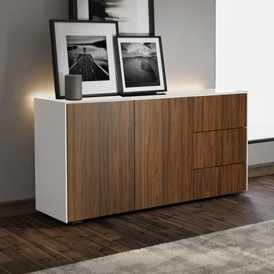 Contemporary High Gloss White and Walnut Sideboard With Wireless Phone Charging And LED Mood Lighting image 4