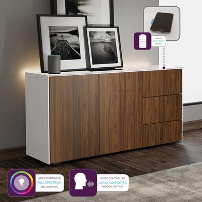 Contemporary High Gloss White and Walnut Sideboard With Wireless Phone Charging And LED Mood Lighting image 5